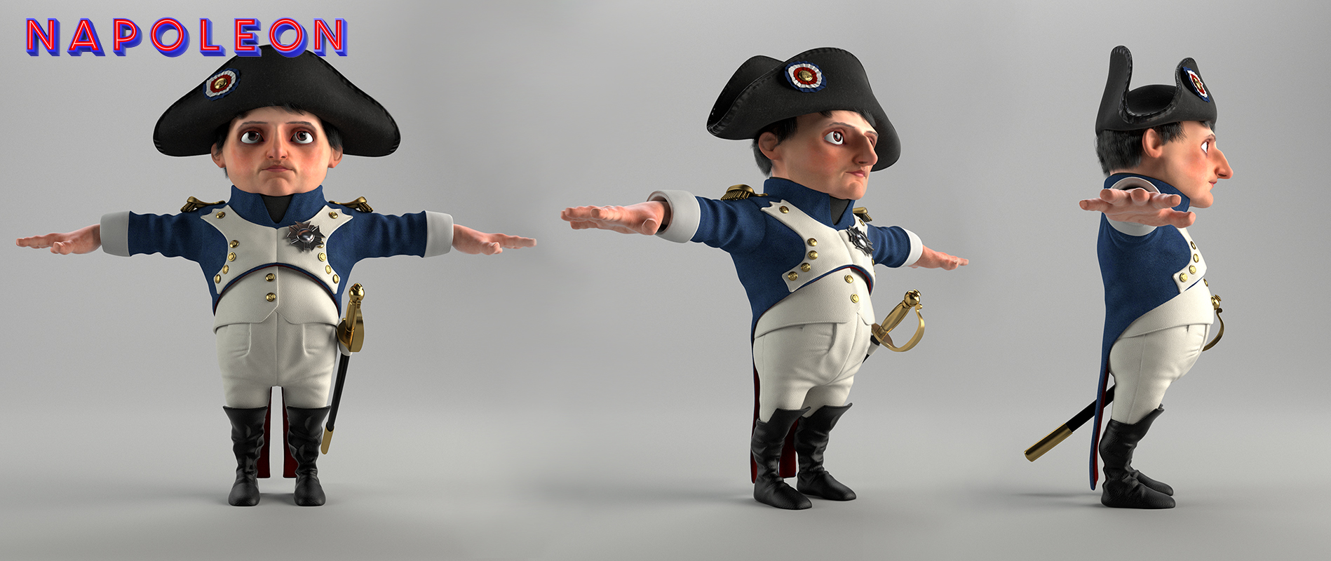 Napoloen character rendered in Vray