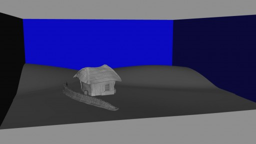 Blocking out the miniature set in Autodesk Maya for the Latvian Komedie Minute